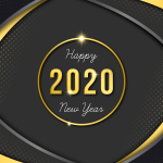Happy new year, gold numbers 2020 on a dark background. Vector illustration.